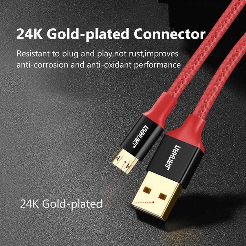 2 Bungkus Reversible Micro USB Kabel Charger Cepat Data Nilon Dikepang Kabel Micro USB untuk Xiaomi Samsung Ponsel Android