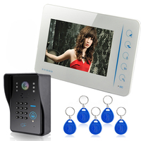 Touch Panel Key 7 Lcd RFID Password Video Door Phone Intercom System With IR Camera 1000