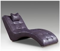 American style champagne Chaise lounge top grade ox leather living room home furniture
