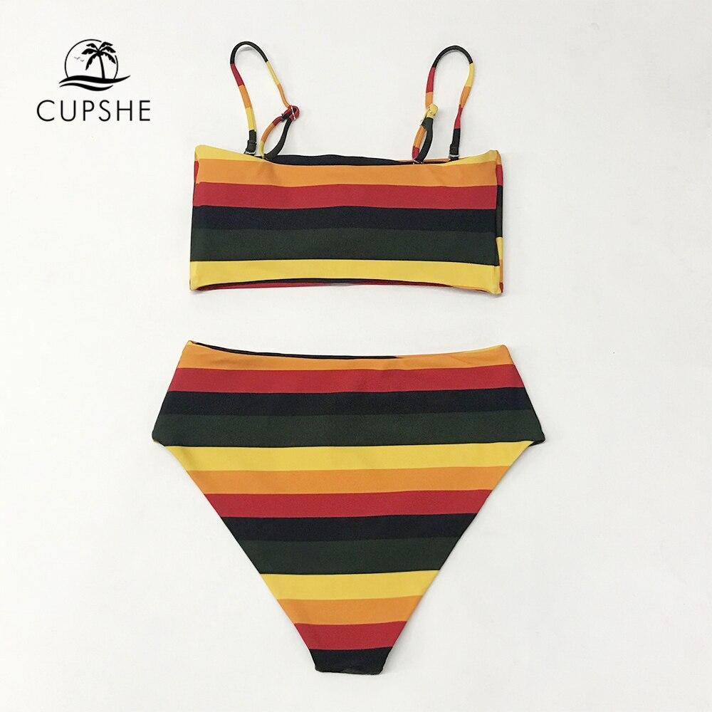 Image 5 - Женский купальник бандо CUPSHE, черный и желтый цвета в полоску, пляжный купальник из двух предметов, 2020Купальники     -