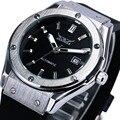 2016 VENCEDOR Esporte Relógios para Homens Mecânico Automático do relógio de Pulso Pulseira de Borracha Auto Data Relógio Militar Design de Alta Qualidade + BOX