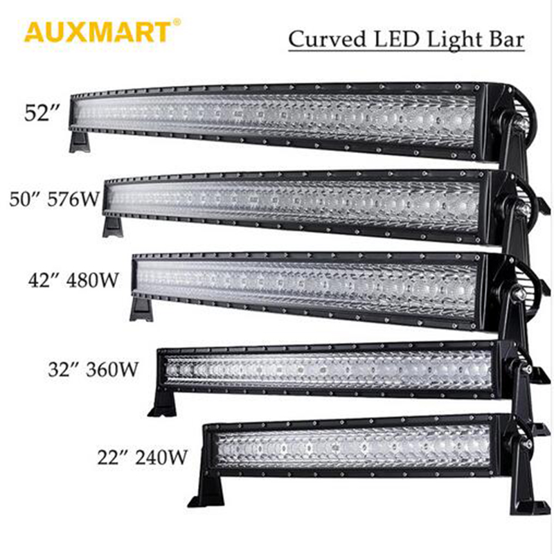 Auxmart Tri Row 14 22 32 42 52 50 Curved LED Light Bar Offroad Combo Beam Bar Light Truck Trailer 4X4 4WD ATV SUV 12V 24V auxmart 22 led light bar 3 row 324w for jeep wrangler jk unlimited jku 07 17 straight 5d 400w led light bar mount brackets