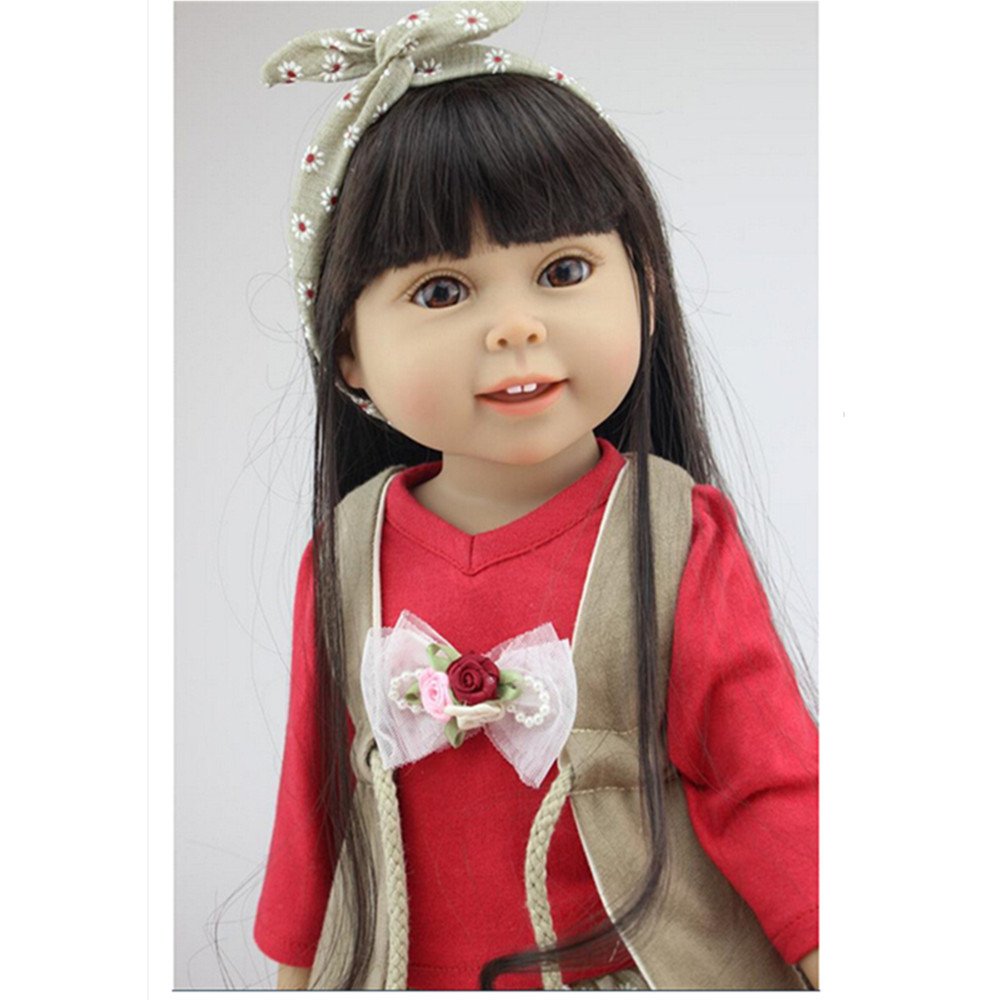 45 cm/18 Inch American Girl Doll Princess Doll, Cute Soft Plastic Reborn Dolls Babies Girl Doll for Kid's Gift Free Shipping novelty 18 inch 45 cm soft american girl dolls princess doll with dress cute lifelike baby toys for children gift free shipping