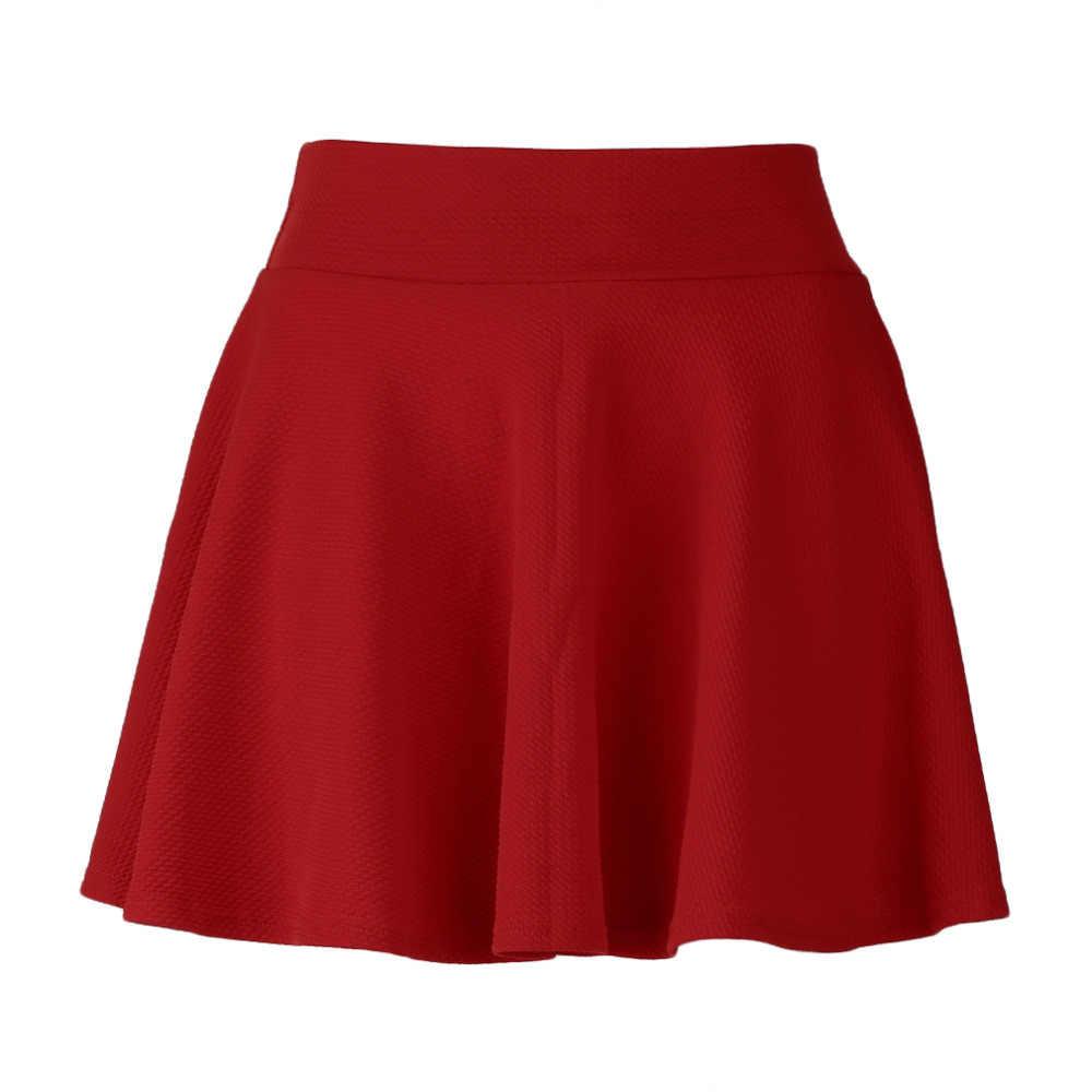 78e345130 ... School Girls Short Skirt Women's Stretch Waist A-Line Flared Pleated  Plain Skater High Waist ...