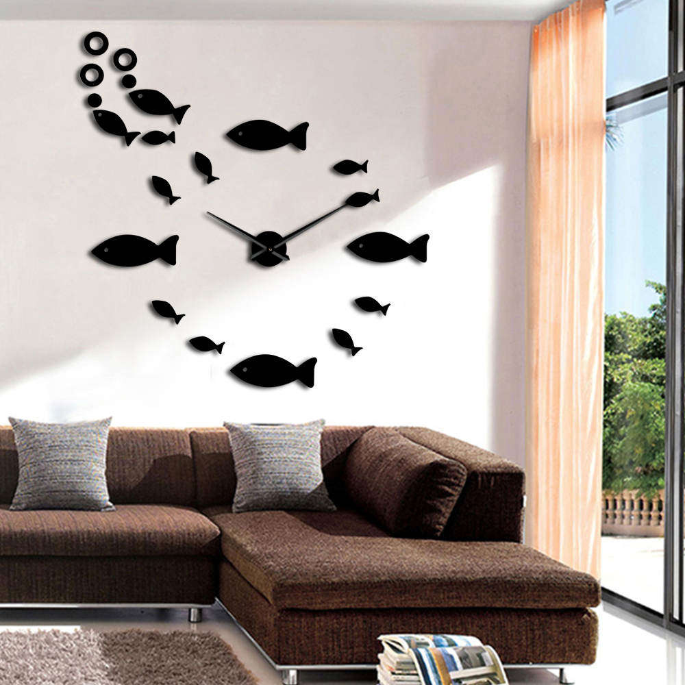 Sea Animal 3D Wall Clock Sticker Fish With Bubble DIY Clock Watch Large Big Wall Clocks Modern Design House Clock Decor