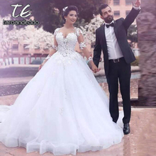 Scoop Ball Gown Wedding Dresses Illusion Back Long Sleeves Lace Appliques Floor Length Court Train Bridal Gown Dress 2021