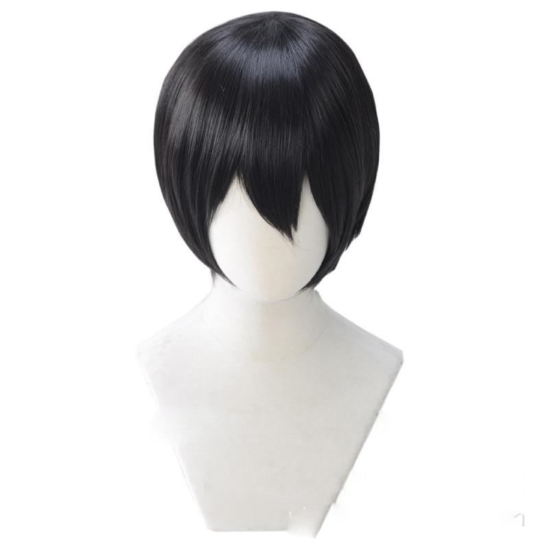 Free Iwatobi Swim Club Nanase Haruka Cosplay Wig Short Straight Black Wigs Bangs For Party Synthetic Hair+Wig Cap