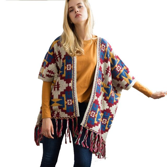 Floral Kimono Cardigan Poncho Sweater Shawl Autumn Knitted Pattern ...
