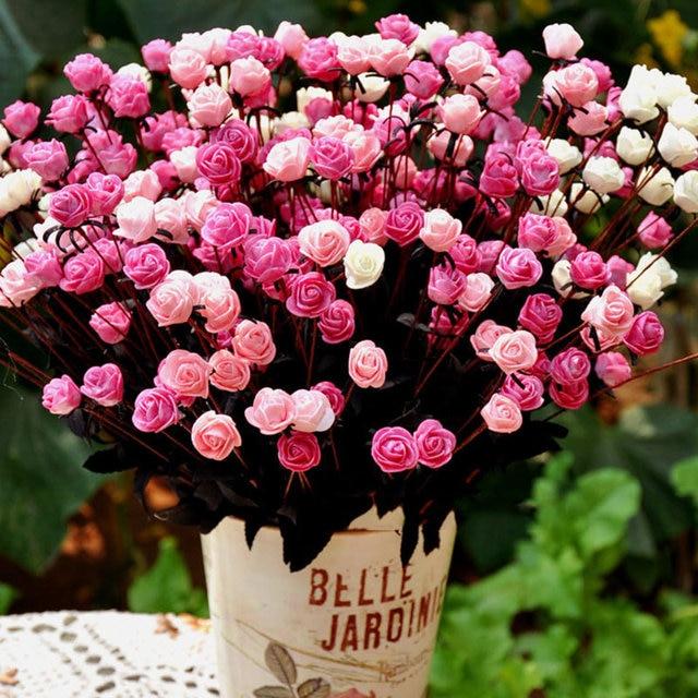 15 Tetes Bouquets Artificielle Rose Fleurs Romantique De Noce Faux