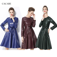 PU Leather 50s Dress Autumn High Fashion Simplee Dress Runway Faux Leather Dress F0199 with Waist Belt Long Sleeve