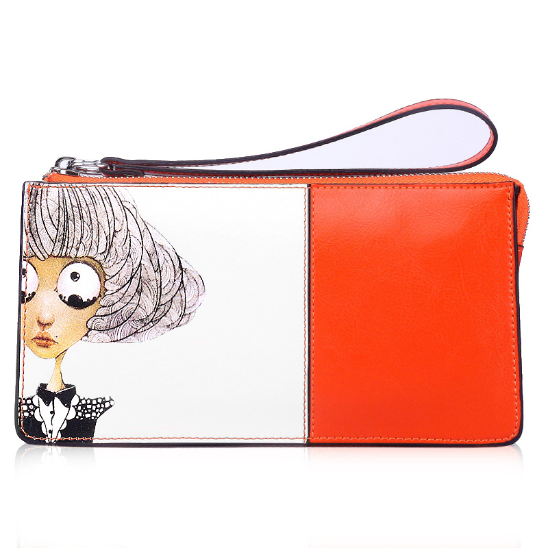 2017 Fashion Zipper Clutch Bag Handbag Day Clutches Women Cow Leather Cartoon Printing Long Purse Card Holder Wallets Girl Bags