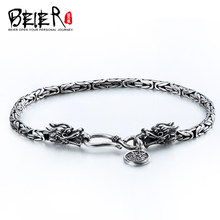 BEIER Fashion Men's High Polished 100% 925 silver sterling Double Dargon Bracelet Bring Lucky Jewelry BR-SL001(China)