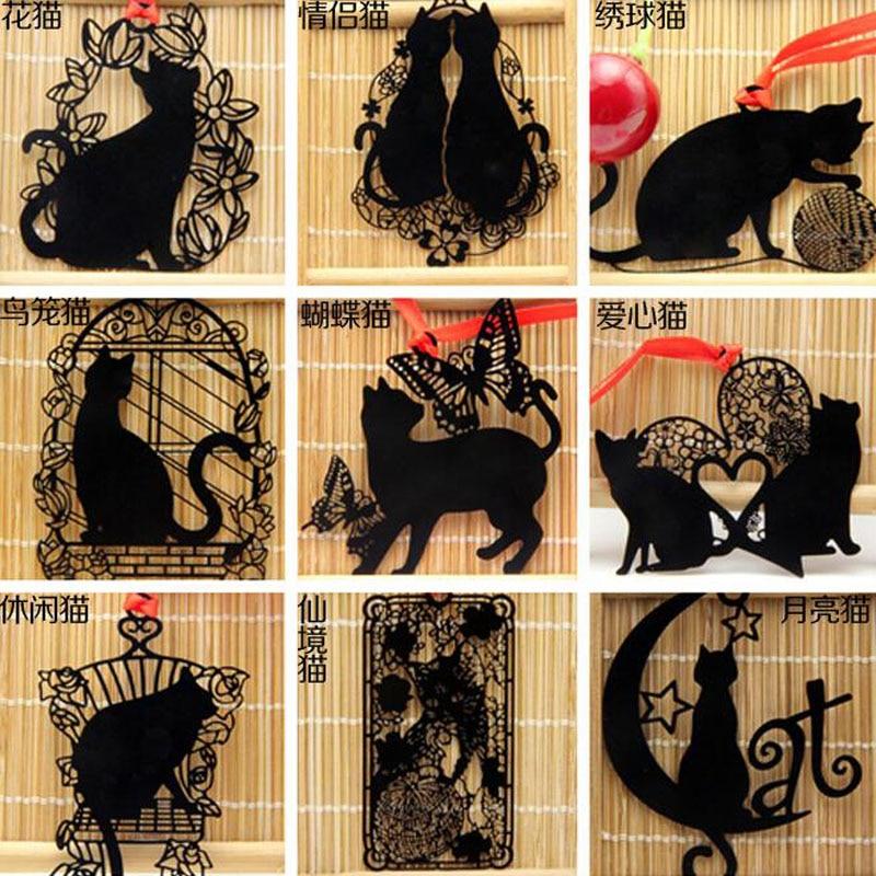 1pc Kawaii Cat Bookmarks Black Paint Metal  Stationery Escolar School Office Supplies Papelaria Pagination Bookmark