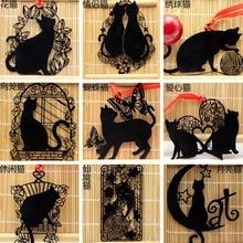 1pc Kawaii Cat Bookmarks Black Paint Metal Bookmarks  Stationery Escolar School Office Supplies Papelaria Pagination Bookmark цены