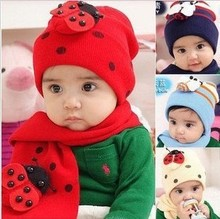 Free shipping,2pcs/set,2013 new Baby Autumn Winter ladybug cap + scarf ,1-3 years old children hat scarf,red,wholesale.