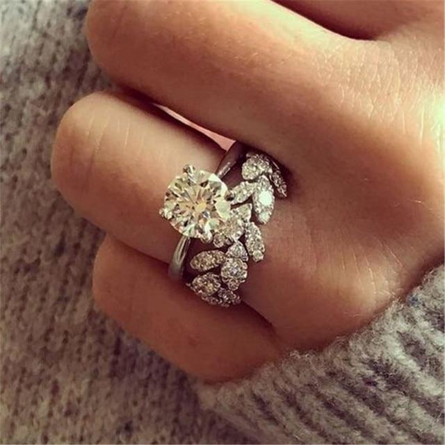 Витые листья цветок круглый горный хрусталь Famle кольцо Серебряный цвет палец кольцо для женщин заявление свадебное кольцо оптовая продажа