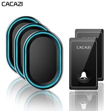 CACAZI Wireless Doorbell ไม่จำเป็นต้องใช้แบตเตอรี่กันน้ำ 1 2 เครื่องส่งสัญญาณ 1 2 3 ตัวรับสัญญาณ Self Powered แหวน Bell US EU UK AU Plug