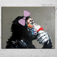 Modern Home Decor Wall Art Pictures Large Black Women Orangutan Paintings Hand Painted Abstract Animal Oil
