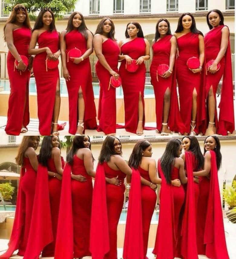 Vestidos De Dama De Honor Rojos De Un Hombro Para Verano Jardin De Campo Invitados De Fiesta De Bodas Vestidos De Dama De Honor De Talla Grande Hechos A Medida 2019 Vestidos Para