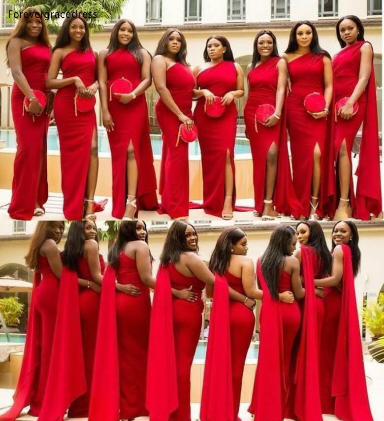 2019 Red Bridesmaid Dresses One Shoulder Summer Country Garden Wedding Party Guest Maid Of Honor Gowns Plus Size Custom Made
