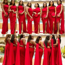 2019 Red Bridesmaid Dresses One Shoulder Summer Country Gard