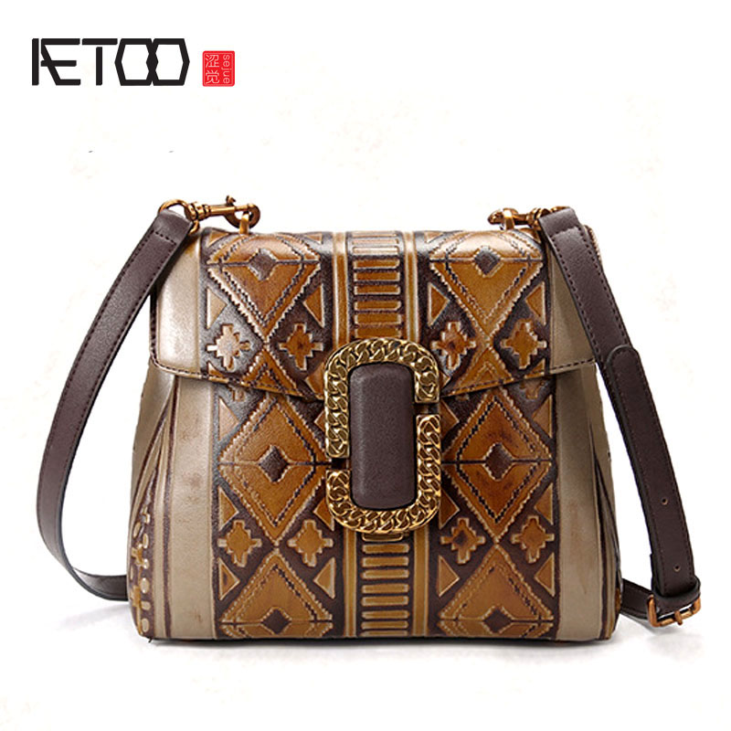 AETOO The new retro handbags Europe and the United States fashion handmade wiping the shoulder oblique cross package leisure BAG aetoo leather handbags new small square package europe and the united states fashion shoulder oblique cross bag head layer of le