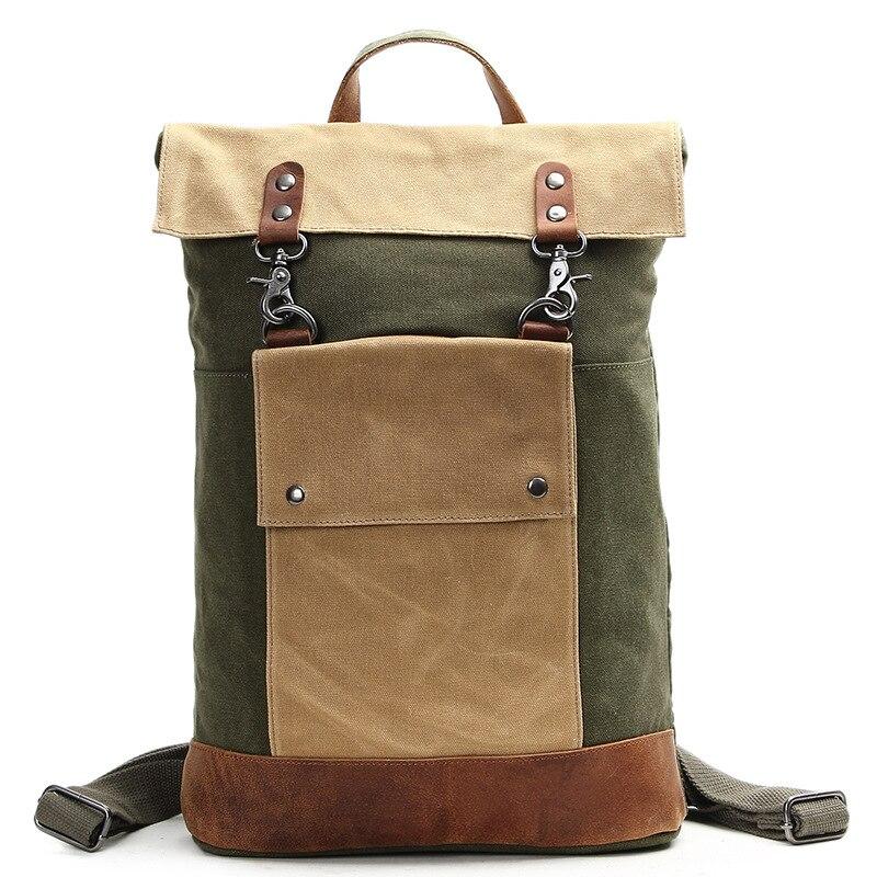 Hot Sale Men Real Crazy Horse Leather Canvas Backpack Boy Vintage Thick Canvas School Backpack Shoulder Bag Casual Rucksack H017
