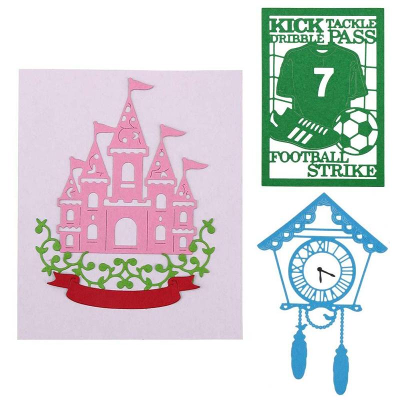Football House Metal Cutting Dies Craft Vintage Clock Cut Dies Stencils For DIY Scrapbooking Card Album Photo Decoration 3