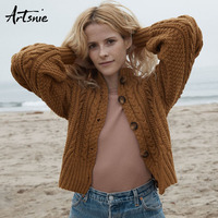 Artsnie Winter 2018 Turtleneck Knitted Cardigans Women Button Lantern Sleeve Casual Knitwear Pull Femme Autumn Sweater Jumper
