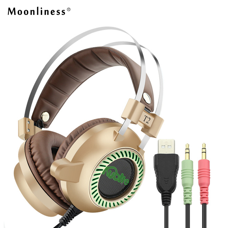 Moonliness T2 Gaming Headphones Casque 7.1 Surround Sound Stereo Headset USB Game Headphone with Mic LED Lights for PC Gamer computer game headphone stereo surround earphones gaming headset with mic stereo bass led light headphones for pc game dota ps4