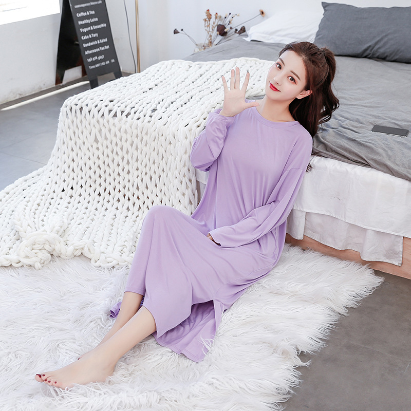 Long Loose Nightgowns Women Plus Size Sleepwear Nightdress Cotton Soft Modal Solid Nightwear Spring Sleeping Dress