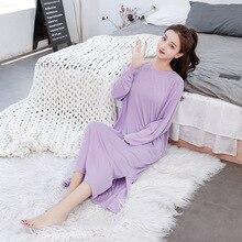 Long Loose Nightgowns Women Plus Size Sleepwear Nightdress Cotton Soft Modal Solid Nightwear Spring Sleeping Dress