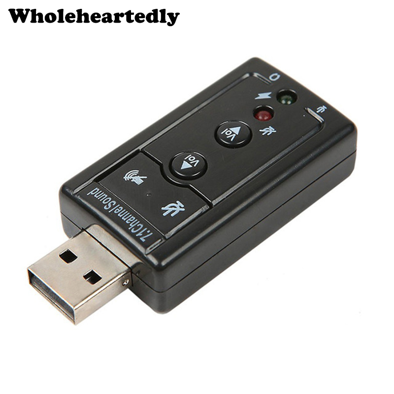 Black 7.1 Channel 3D External USB Sound Card Adapter 3.5mm Jack Stereo Mic Headset For Win XP 7 8 Android Linux for Mac OS Звуковая карта