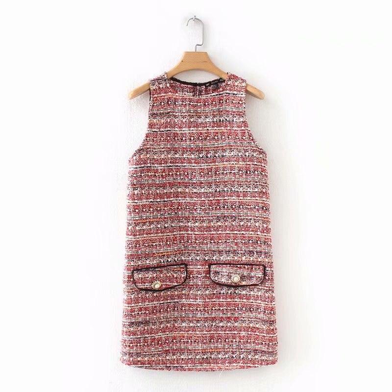 f4b99fe75bc3 Autumn Vintage Plaid Tweed Knitted T-shirt Dress Elegant Korean St...