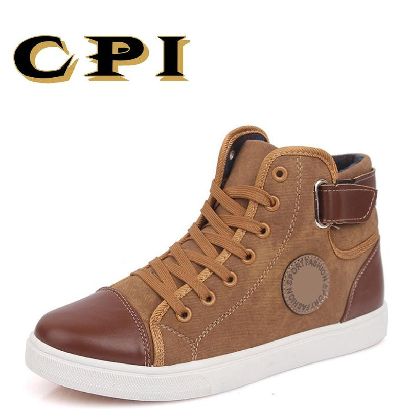 CPI 2018 Fashion High Top Men Shoes Canvas Men Casual Shoes For Autumn Winter Mens Footwear Patchwork Walking shoes DD-19