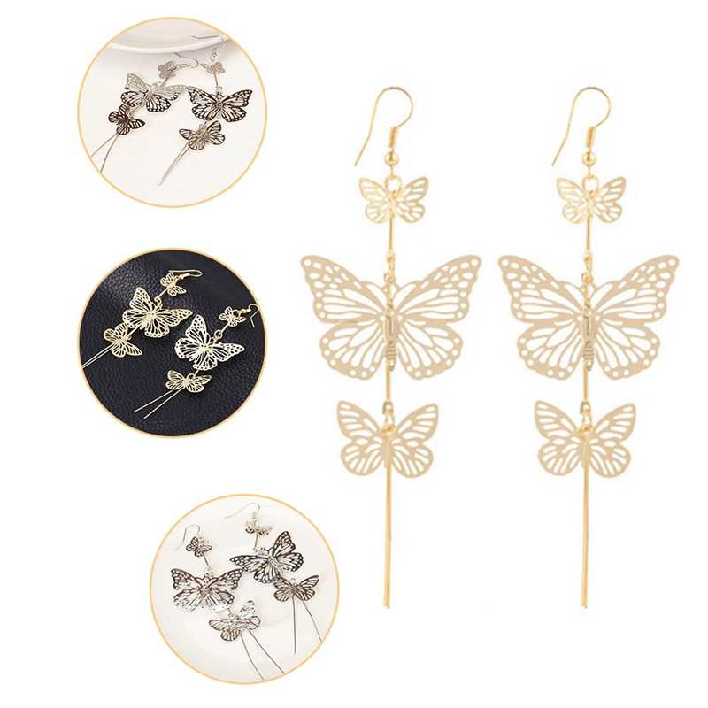 New Gold Silver Alloy Multi-layered hollow Butterfly ต่างหูยาวพู่