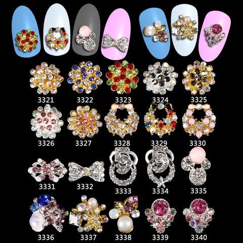 100 pcs de luxo metal perolas liga arte do prego encantos flor laco forma glitter