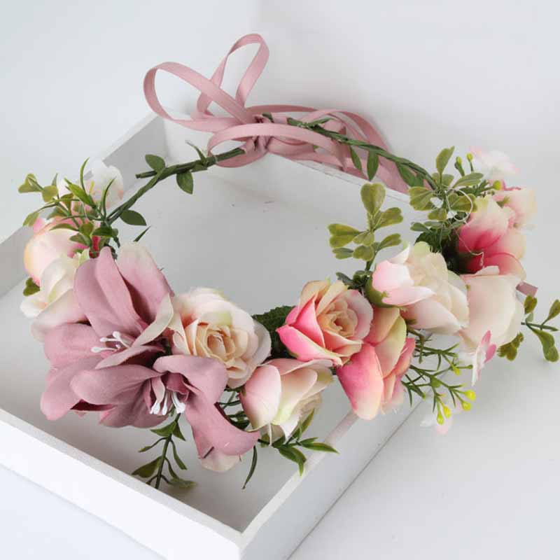 Wedding Hair Accessories for bride Artificial Flower Leaf Headband Headpiece Crown Wreath women Girls Hairband headwear hairband