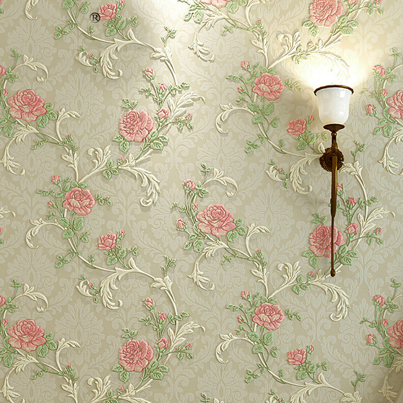 European Style Pastoral Floral Pattern Wallpaper For Bedroom Walls Home Decor Non-woven Fabric 3D Embossed Wallpaper Flower Roll european high quality luxury non woven wallpaper roll cream gilt flocking embossed textured feature bedroom home decor papeles p