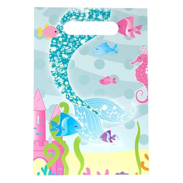 6 pçs/set Novo Saco do Presente do Tema Dos Desenhos Animados Pequena Sereia Para Crianças Decorações Do Partido Feliz Aniversário Fontes Do Partido de Plástico Saco Do Presente