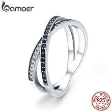 BAMOER Authentic 925 Sterling Silver Cross Geometric Black & Clear CZ Finger Rings for Women Sterling Silver Jewelry anel SCR439(China)