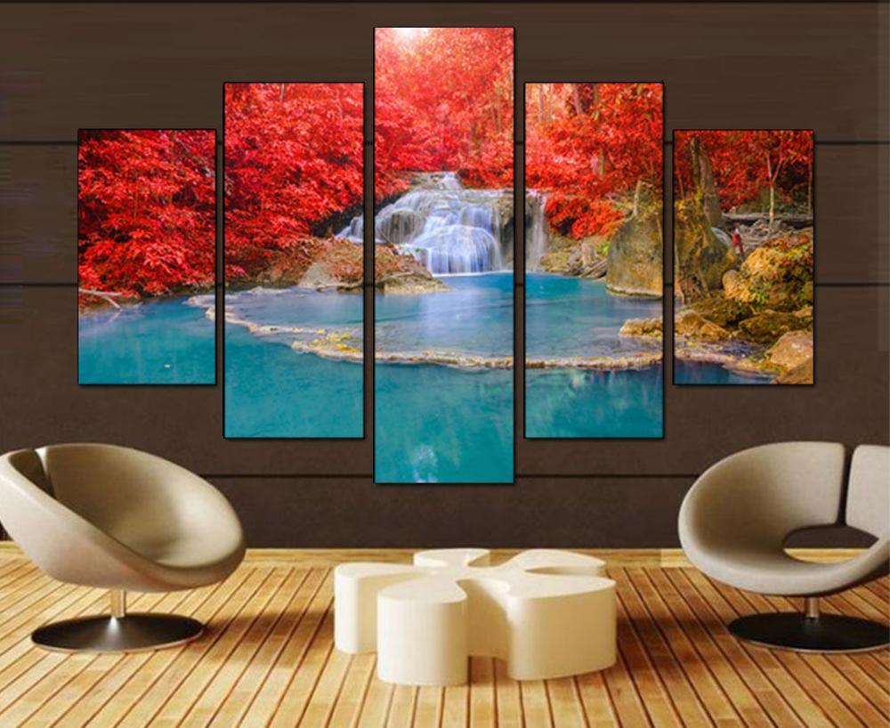5 Panel Wall Art Canvas Landscape Lukisan Red Maple Leaf Forest Wall - Hiasan rumah - Foto 1