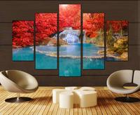 5 Panels Wall Art Canvas Landscape Paintings Red Maple Leaf Forest Wall Decora For Decor Waterfall Artwork Giclee Wall Picture
