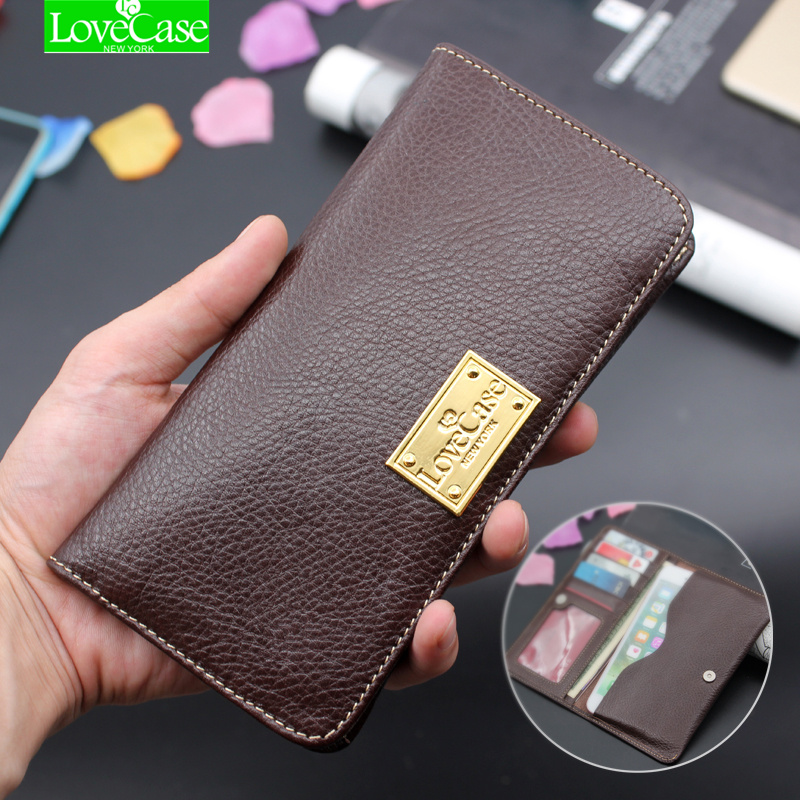 Buy Luxury Genuine Leather Wallet Phone Bags Case For Samsung S8 S7 S6 edge S5 iPhone 7 6 6S Plus SE 5S Soft Brand Cover Purse case