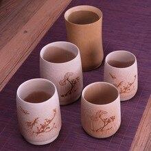 Natural Bamboo Vintage Tea Cups Mini Ature Tea Service Coffee Xicara Cups For Tea Kung Fu Tea Set Wooden Creative Novelty Gift