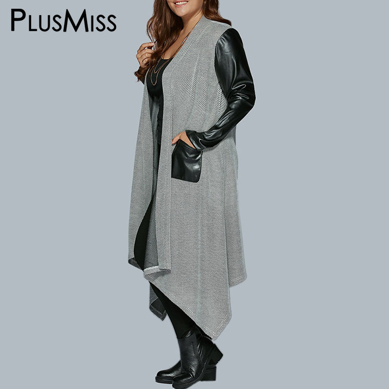 PlusMiss Plus Size PU Leather Long   Trench   Coats Female Long Sleeve Pockets Overcoats Women Autumn Winter 2018 Big Size Oversized