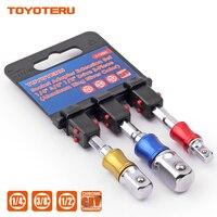 "Toyoteru 3 pçs soquete adaptador conjunto hex shank para 1/4 ""3/8"" 1/2 ""broca de impacto bits para ferramenta elétrica|Chave ingl.|Ferramenta -"