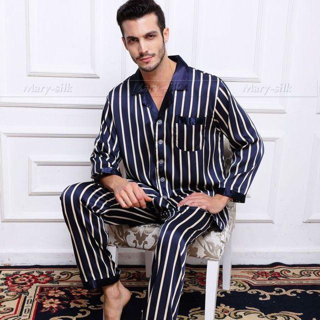 Mens De Satén de Seda Pajamas Set Pijama pijama PIJAMA Conjunto Ropa de Dormir Conjunto Ropa de Dormir Loungewear S, M, L, XL, 2XL, Tira 3XL Plus