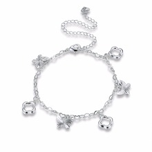 Hot Sale! High Quality New Fashion Jewelry, Cute Silver Plated Anklet, Silver Plated Butterfly Charm Anklet Bracelet for Women