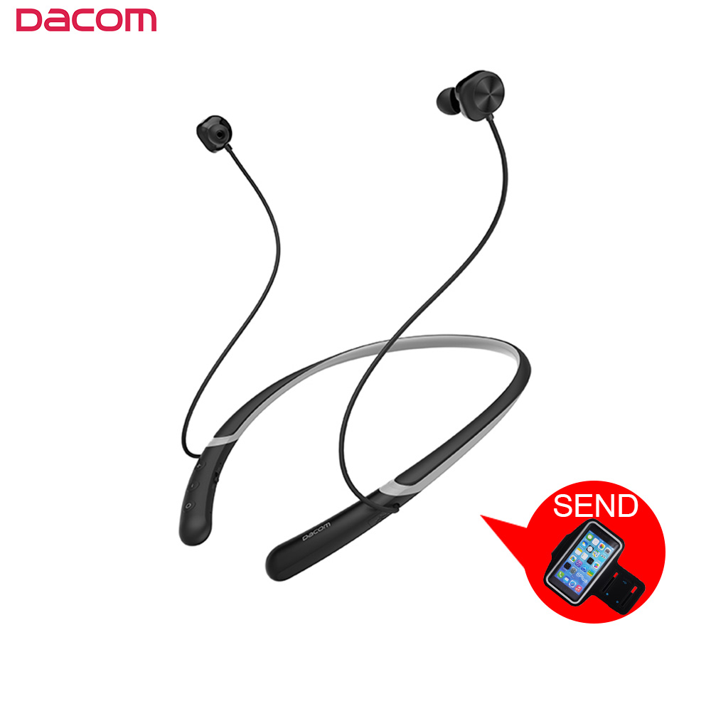 DACOM L02 Wireless Bluetooth Sports Headphones Headset Magnetic Earbuds Double Dynamic Neckband In-eaEarphone for iPhone Samsung